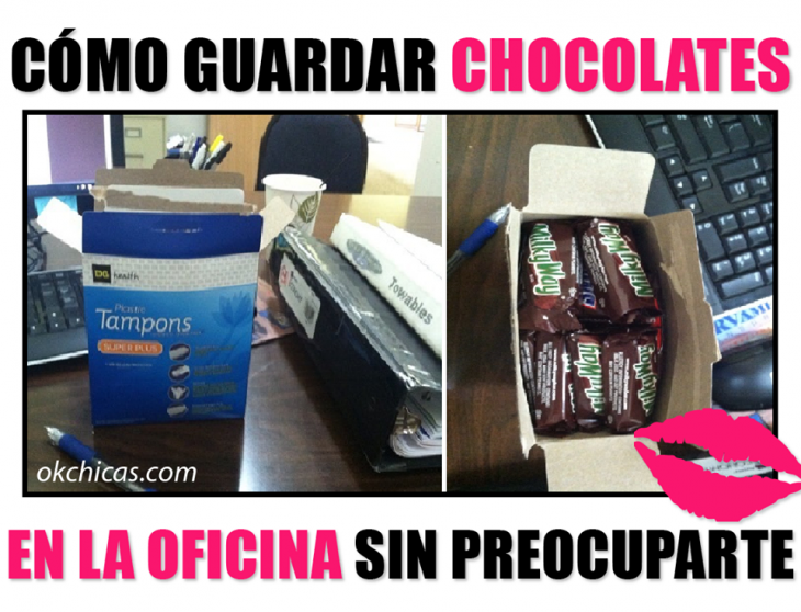 guardar chocolates en cajas de tampones en la oficina