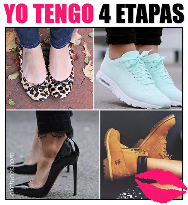 meme de mujeres con diferente calzado 4 etapas