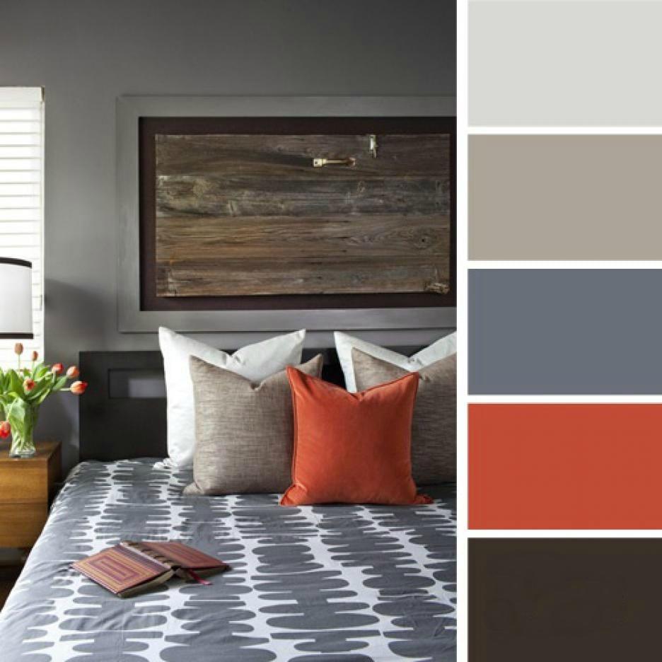15 ideas de combinaciones de colores para tu dormitorio - Pared naranja combina con ...