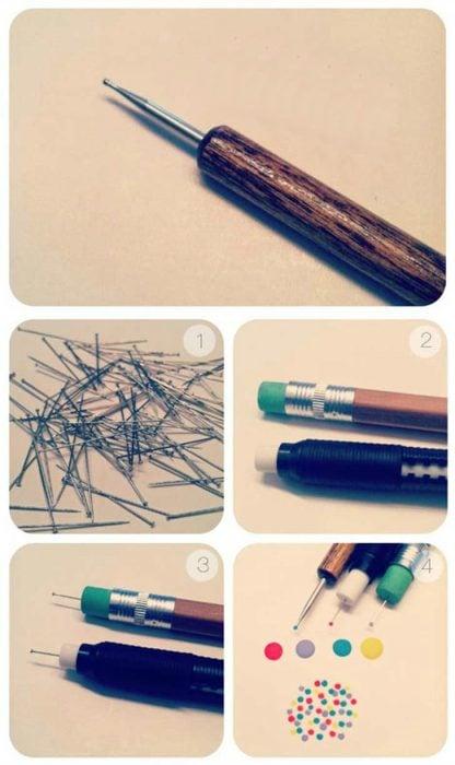 como hacer un lapiz de puntos diseño manicura
