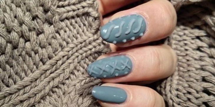 uñas estilo sweater tejido de punto uñas gris