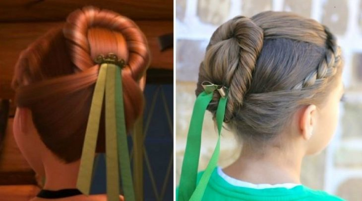 peinados para niña inspirado en recogido de princesa anna de frozen