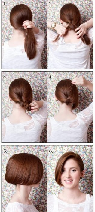 peinado rapido y facil para un recogido corto