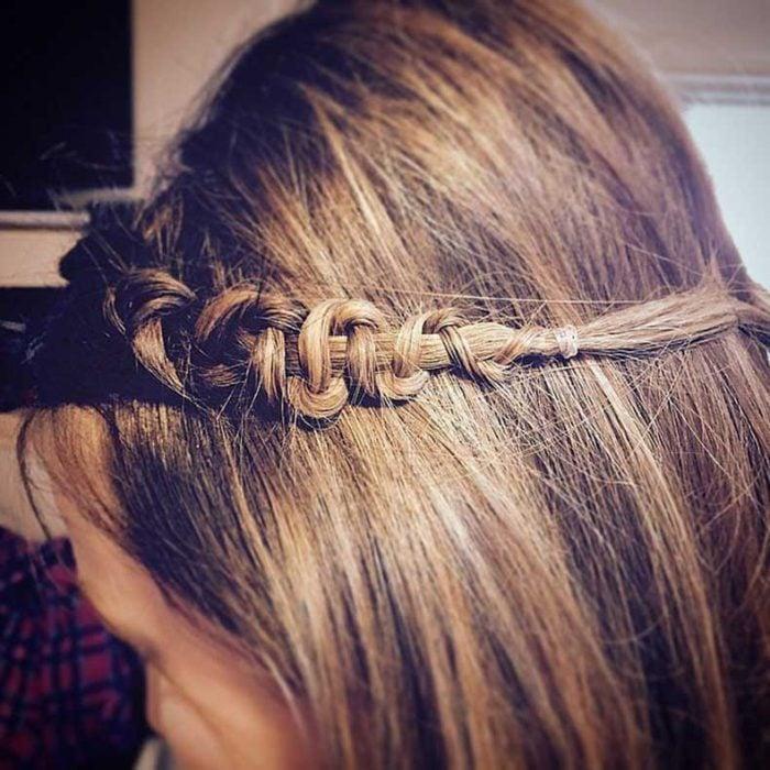 trenza de serpiente media corona sencillo cabello suelto