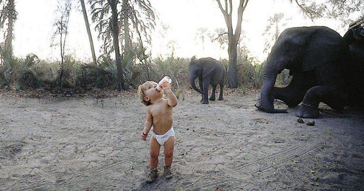 bebé tippi con biberón y elefante bebé atrás