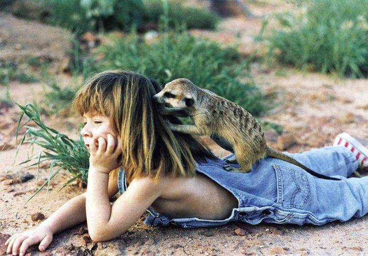 niña tippi acostada boca abajo con suricata en su cabeza