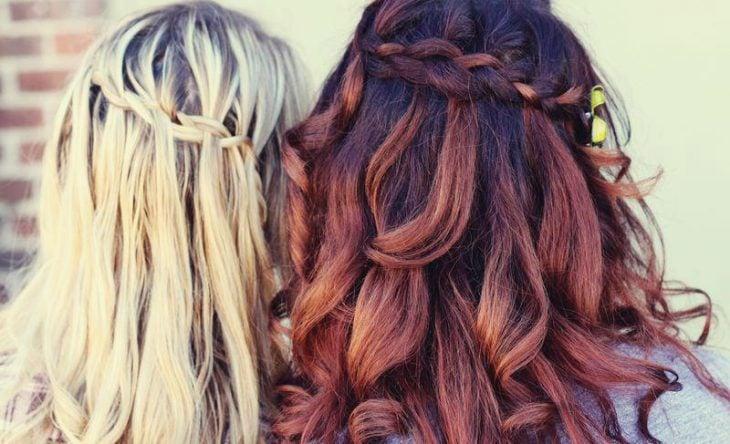 trenza de cascada cabello lacio y cabello ondulado