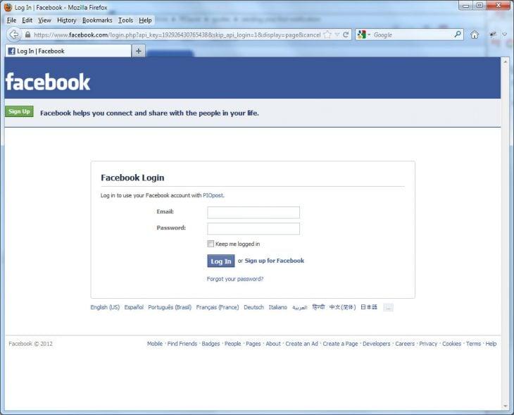 momento antes de conectarse a facebook inicio