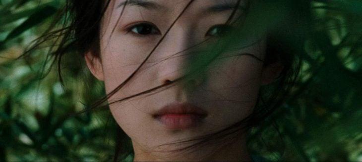 mujer rasgos asiáticos mirada seria cabello en la cara