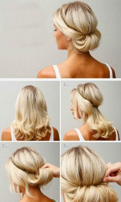 como hacer un peinado recogido muy elegante con diadema