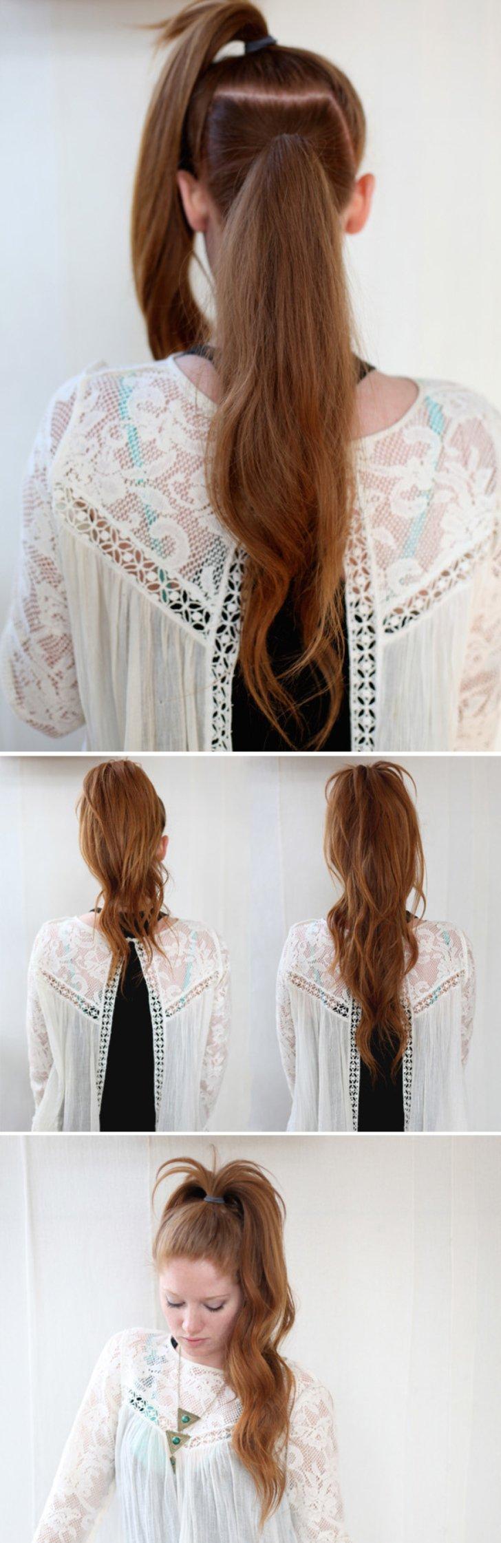 Una cola de caballo, fácil, alta y pronunciada. tutorial peinados rapidos