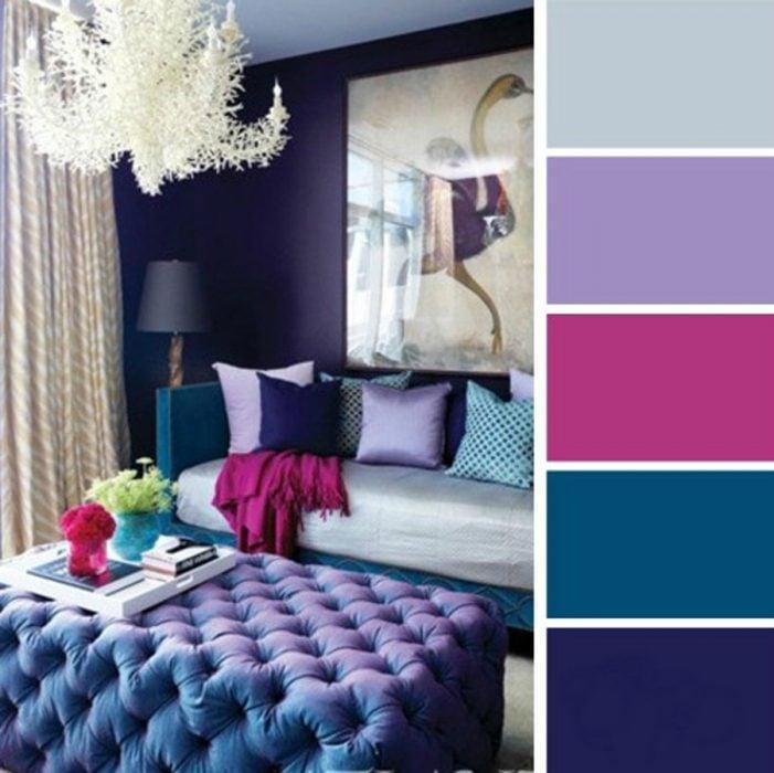 paleta de colores para dormitorio azules rosa lavanda y gris