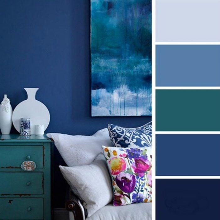 15 ideas de combinaciones de colores para tu dormitorio for Colores de pintura azul