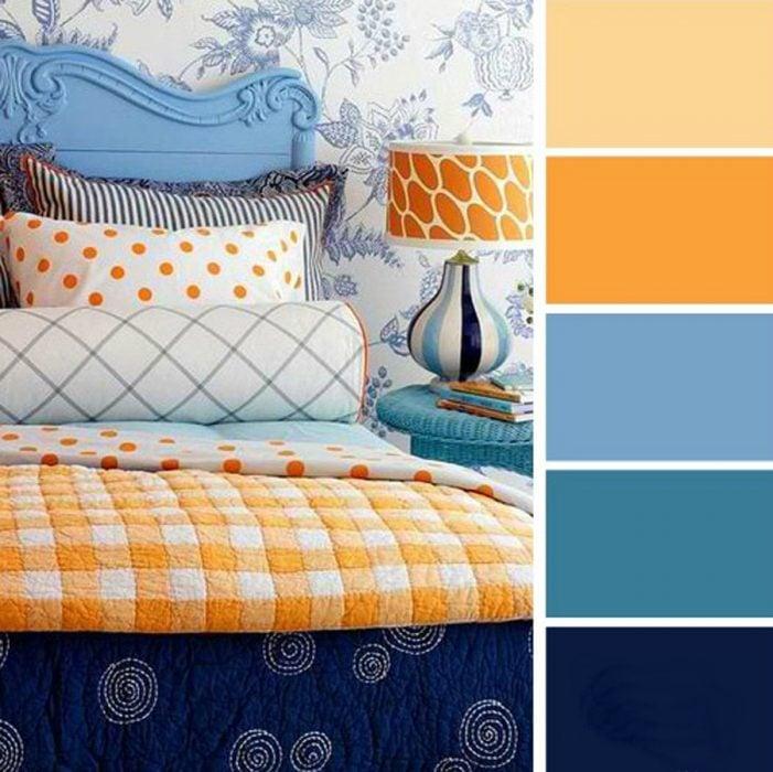 paleta de colores para dormitorio azules naranja y vainilla
