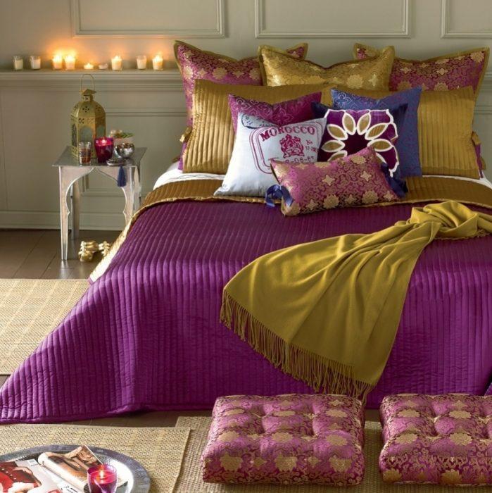 paleta de colores para dormitorio morado rosa amarillo mostaza