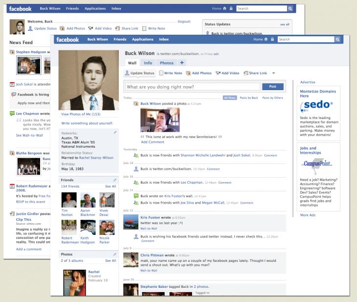 como solia verse el inicio de facebook en 2005
