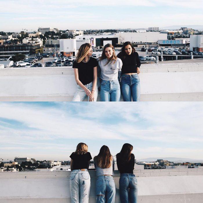 3 chicas de frente y espaldas chicas nuevas amigas