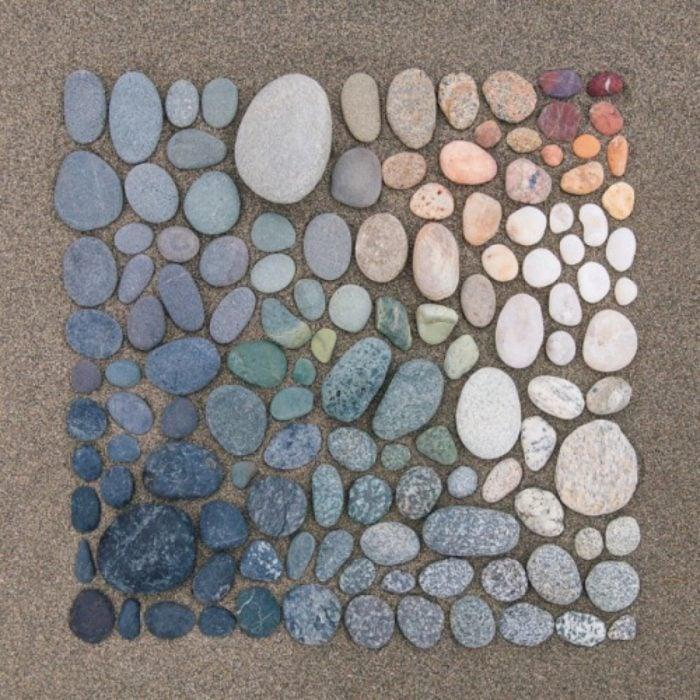 obsesiva del color cuadro de piedras de colores frios