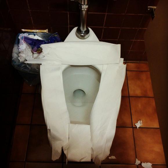 rollo de papel de baño cubriendo el escusado