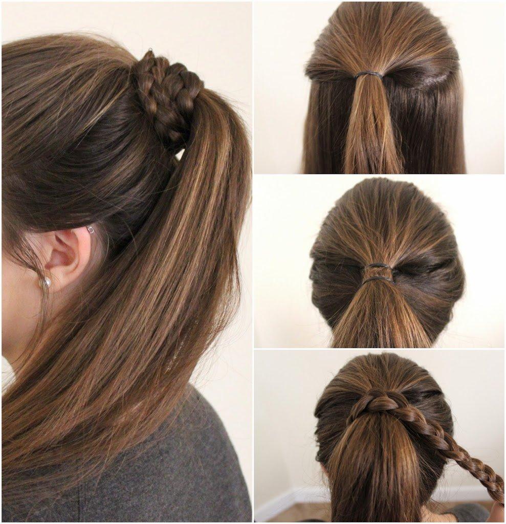 tutorial de peinados fciles sujetados con una trenza - Peinados Fciles