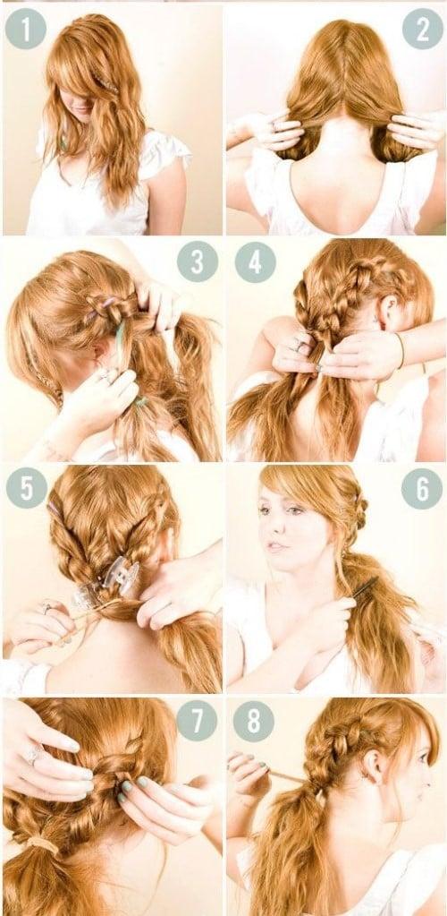 hermoso peinado para trenza y cola de caballo baja tutorial