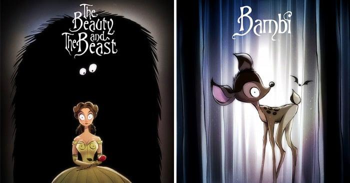 Así serían las películas clásicas de Disney si hubieran sido dirigidas por Tim Burton