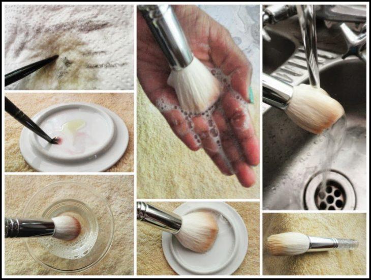tutorial para limpiar tus brochas de maquillaje