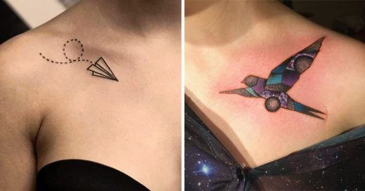 20 Ideas de pequeños tatuajes en la clavícula que toda chica se querrá hacer