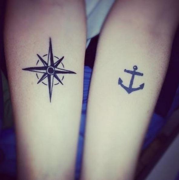 tatuajes hermanas estrella y ancla