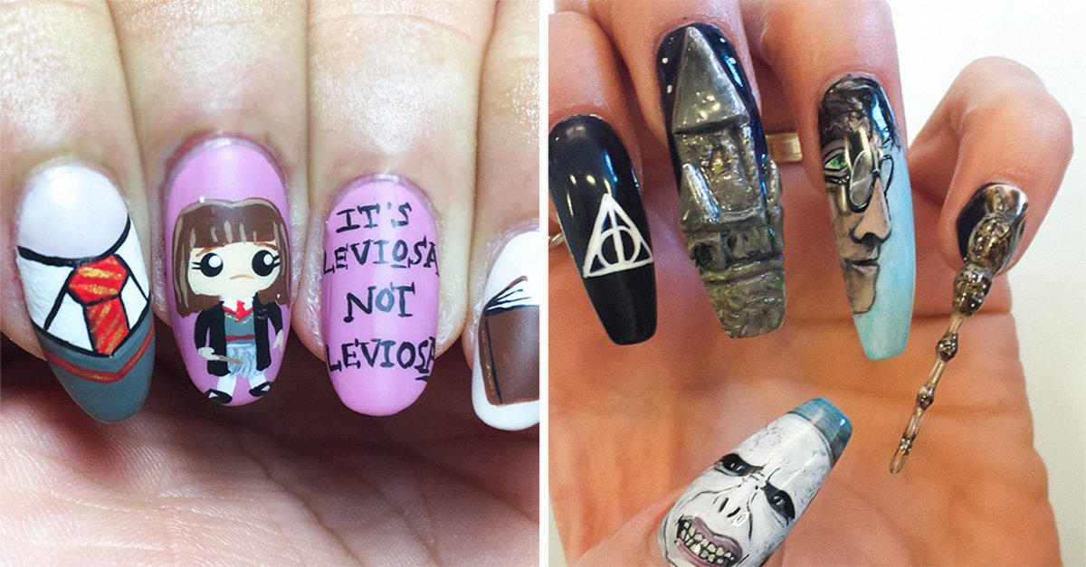 Uñas decoradas de Harry Potter