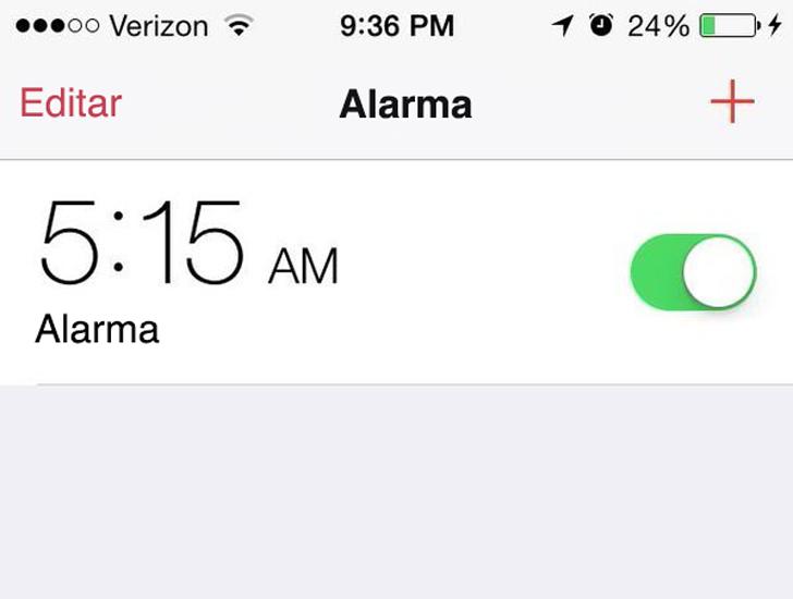 alarma de despertador a las 5:15 am