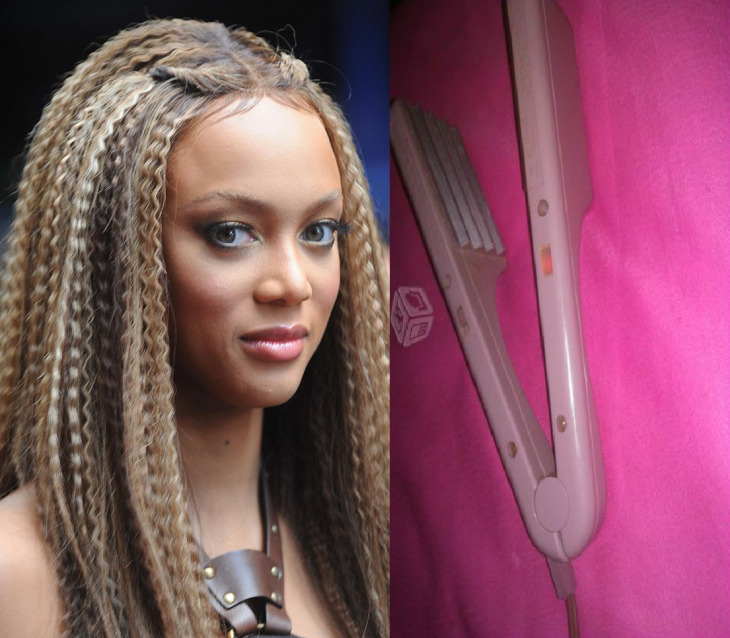 mujer con cabello planchado con wafles waflera 90s