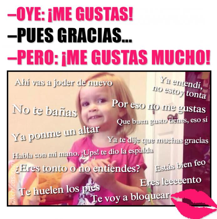 Meme okchicas niña diciendo gracias cuando le declaran su amor