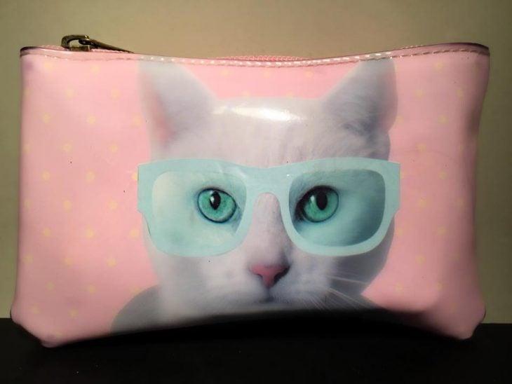 cosmetiquera de gato con lentes azules