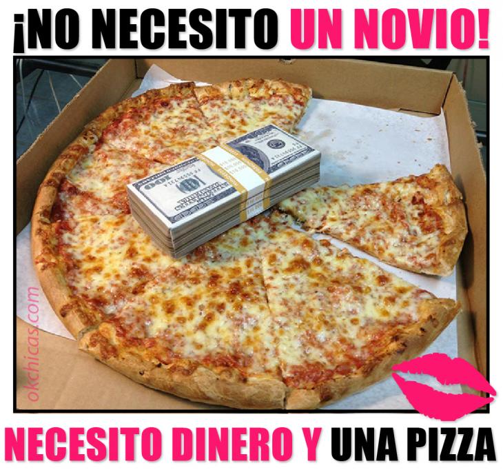 meme de amantes de comidas pizza y dinero