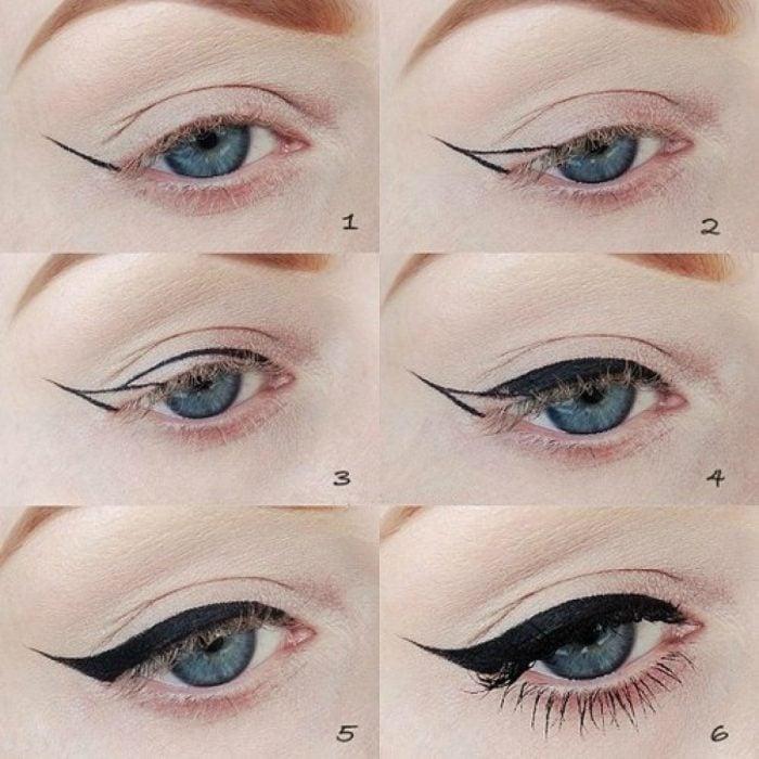 mujer tutorial maquillaje de ojos delineado perfecto
