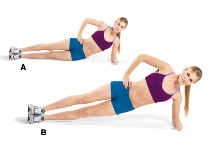 mujer en el suelo haciendo ejercicios de cintura