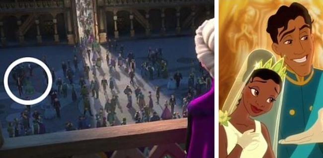 Tiana y Naveen en Frozen