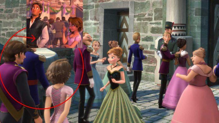 Rapunzel y Flynn d Enredados en escena de Frozen