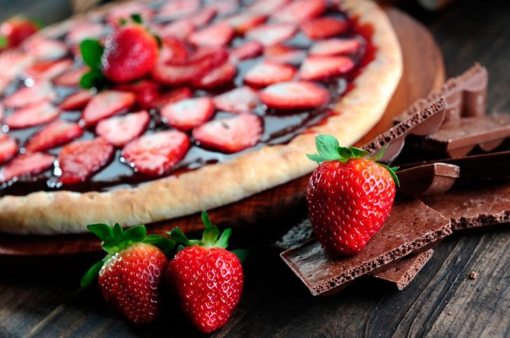 pizza de Nutella con fresas