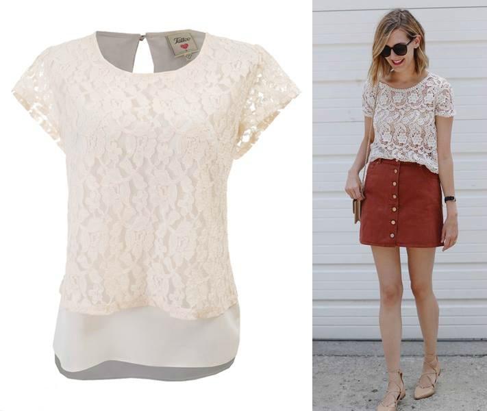 blusa de encaje blanco con falda de gamuza look