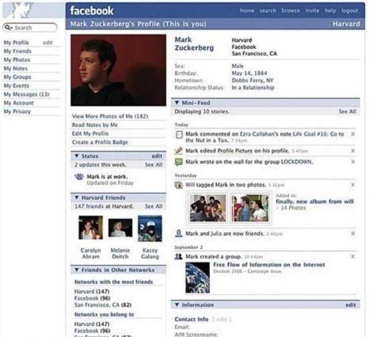Perfil de facebook en 2006