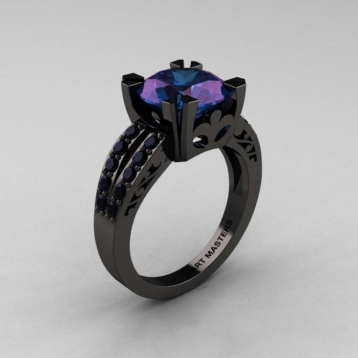 anillo de compromiso negro piedra morada