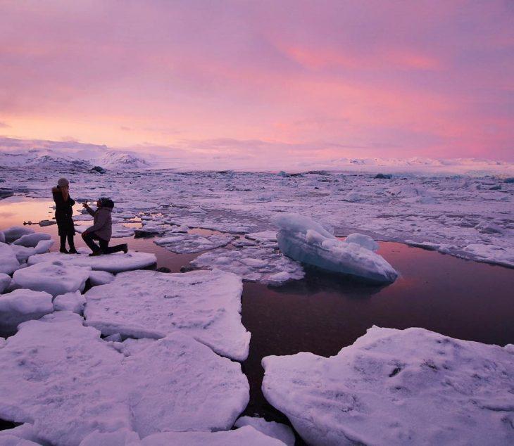 propuesta de matrimonio sobre hielo
