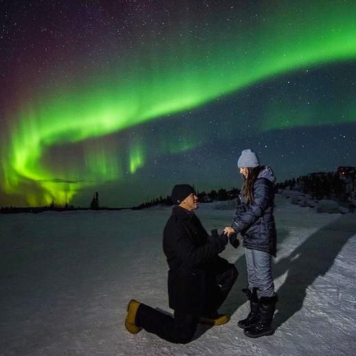 propuesta de matrimonio en la aurora boreal