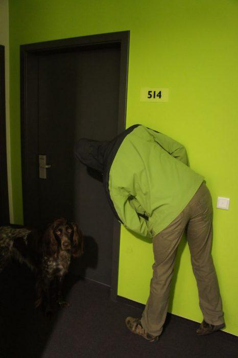 hombre vestido como pared y puerta