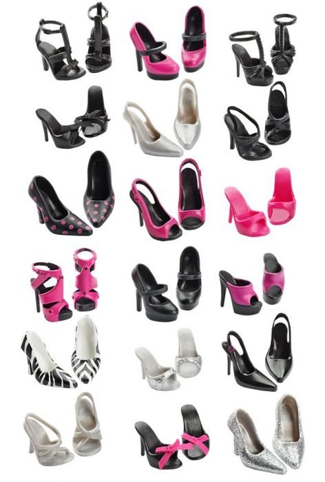 Colección de zapatos de Muñeca barbie