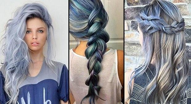 Chica con cabello azul