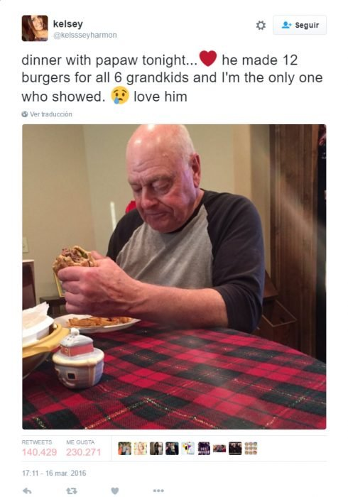twitter de un abuelo que estaba cenando solo