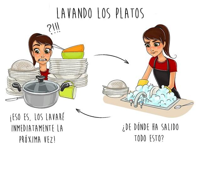 Cuando lavas los platos